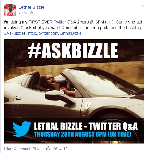 BRITHOPTV: [News/Events] Lethal Bizzle Live #AskBizzle Q&A Session, Thursday, August 28, 6pm (UK) on Twitter | #Grime #UKRap