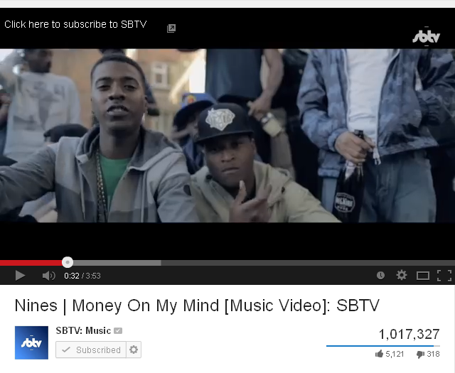 BRITHOPTV: [News/Statistics] Nines (@nines1ace) 'Money On My Mind' hits One million views on YouTube | UK Rap UK HipHop