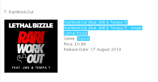 Lethal  Bizzle's -'rari Work Out Ft. JME & Te,mpa T' hits No. #7 on the Itunes top songs chart