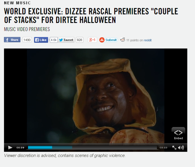 "BRITHOPTV: [Music News] Dizzee Rascal premiers his new horror-movie inpsired ""Couple of Stacks"" video for Halloween