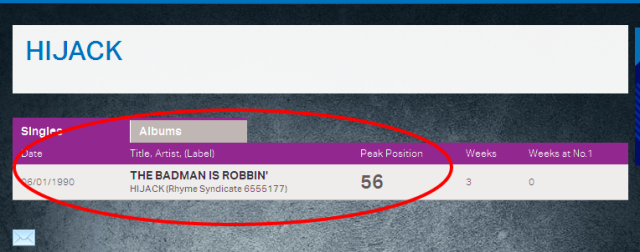 Hijack - The badman is robbin No 56 in the UK singles Chart