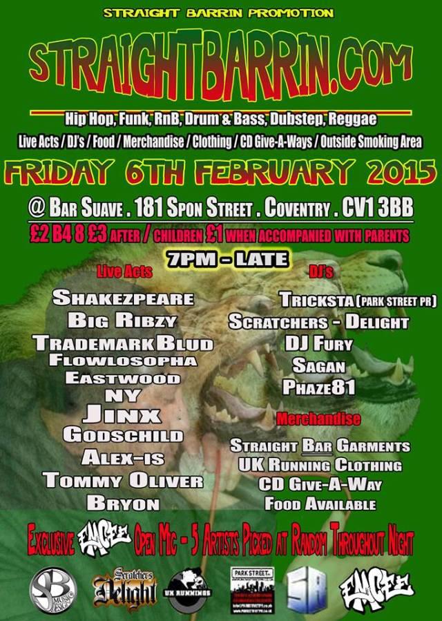 BRITHOPTV: [Event] Straight Barrin,  Friday , February 6, Bar Sauve CV1 3BB | #UKRap #UKHipHop