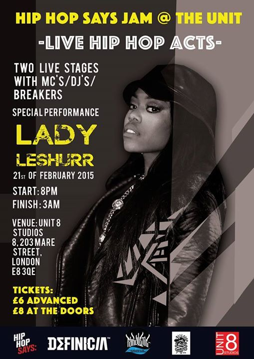 BRITHOPTV: [Event] Hip-Hop Says Jam: Special Guest @LadyLeshurr, Saturday, 2 February 21,  Unit 8 E8 3QE | #HipHop #Rap  #UKHipHop