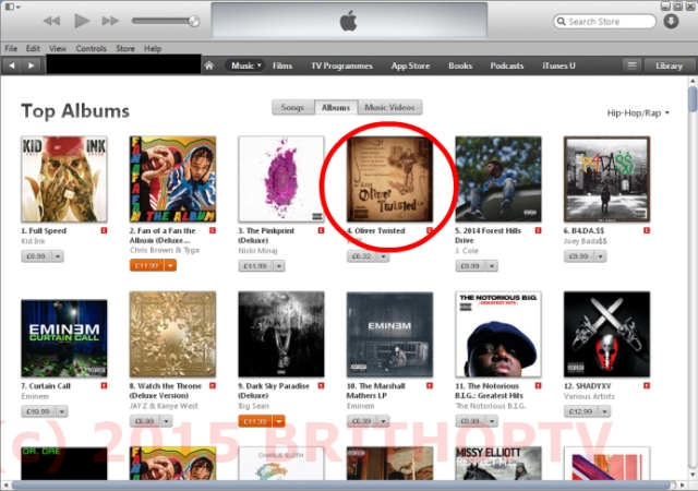 Kyze Oliver Twisted No 4 iTunes Hip-Hop Rap Chart