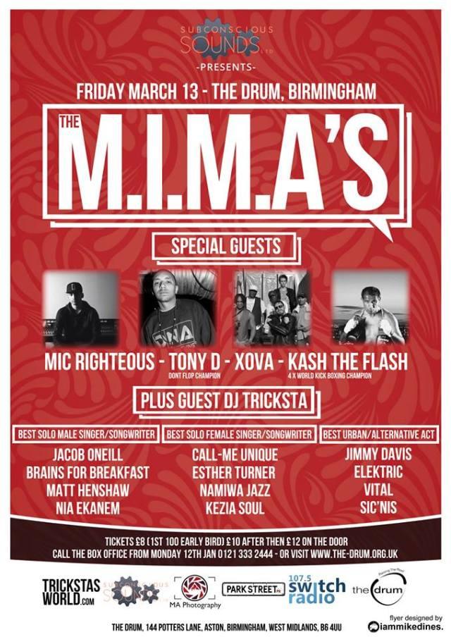 BRITHOPTV: [Event] M.I. M.A. Special Guest: Genesis Elijah, Tony D, Xova, Kash The Flash, Tricksta, Friday March 13. The Drum Birmingham B6 4UU | #UKHipHop #UrbanMusic