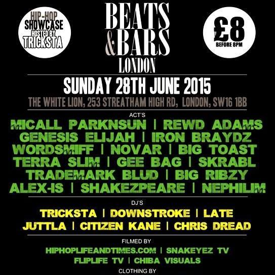 BRITHOPTV: [Events] Park St PR Presents Beats & Bars Stoke: @MicallParkNsun, @Braydz, @NovarFlip, @GenesisElijah & more , Sunday, June 15, The White Lion, 234 Streatham High Road, London SW16 1BB  | #UKRap #UKHipHop