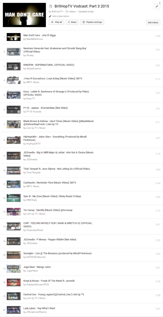 BHTV Vodcast Part 3 Tracklist