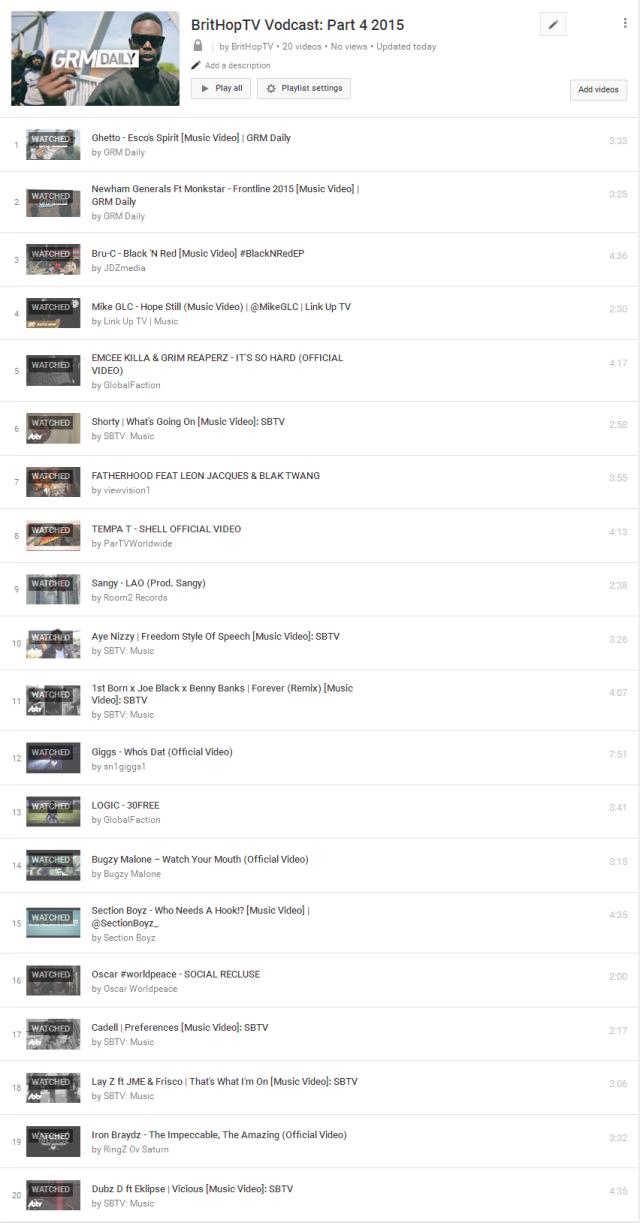 BHTV Vodcast Part 4 Tracklist