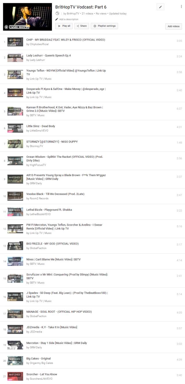 BHTV Vodcast Part 6 Tracklist