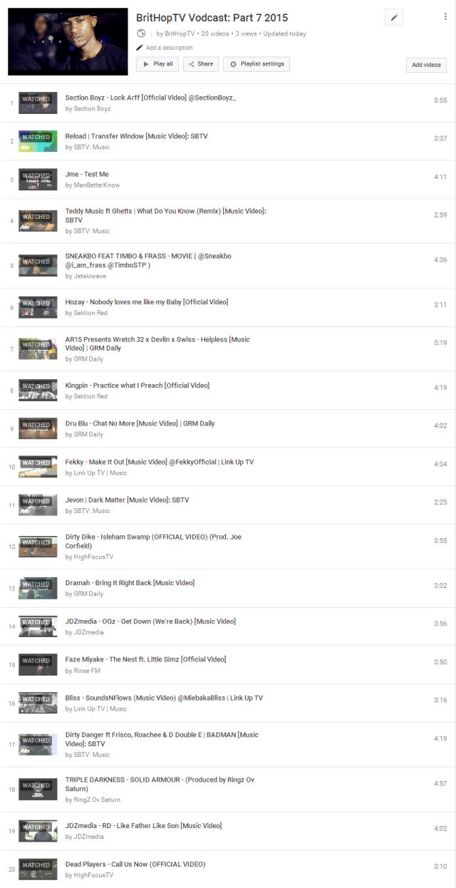 BHTV Vodcast Part 7 Tracklist