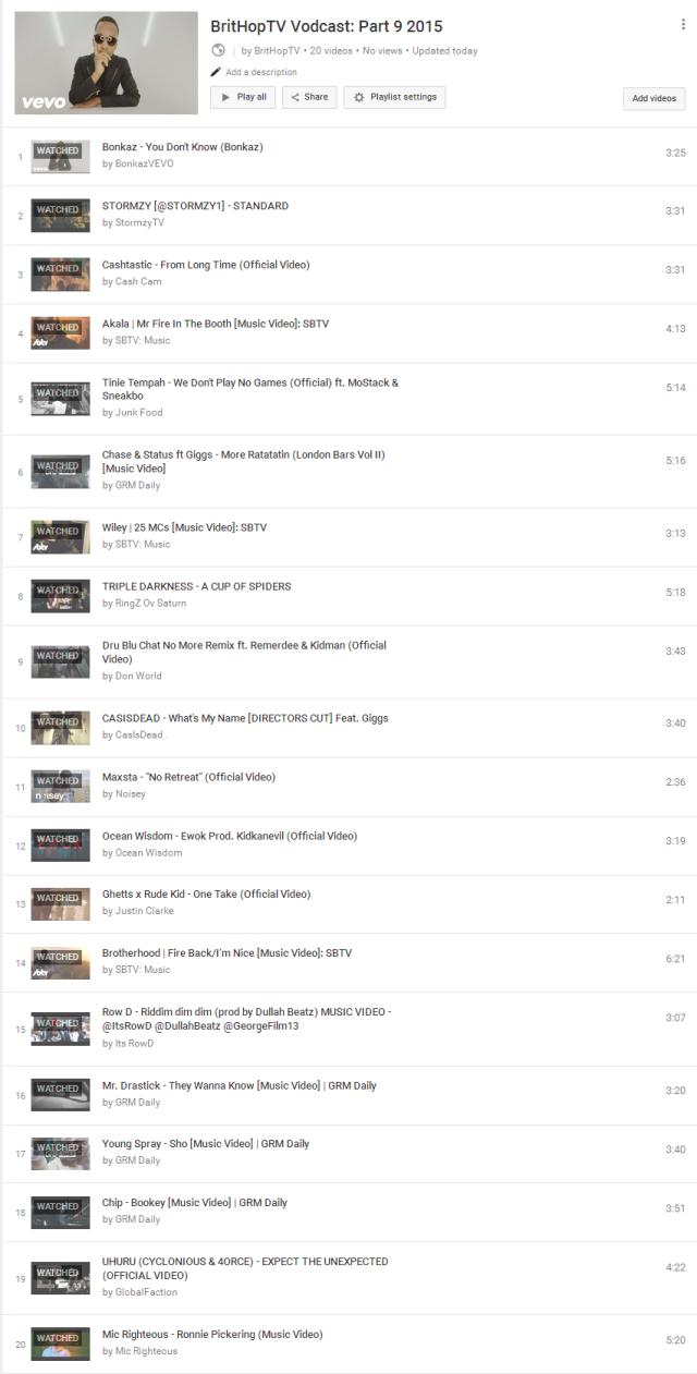 BHTV Vodcast Part 9 Tracklist
