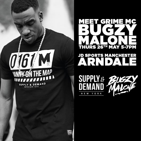 BRITHOPTV: [News/Events] Bugzy Malone (@TheBugzyMalone) Instore Signing, Thurday, May 26, 5-7pm, JD Sports, Arndale Centre, Manchester Me4 3AQ| #Grime