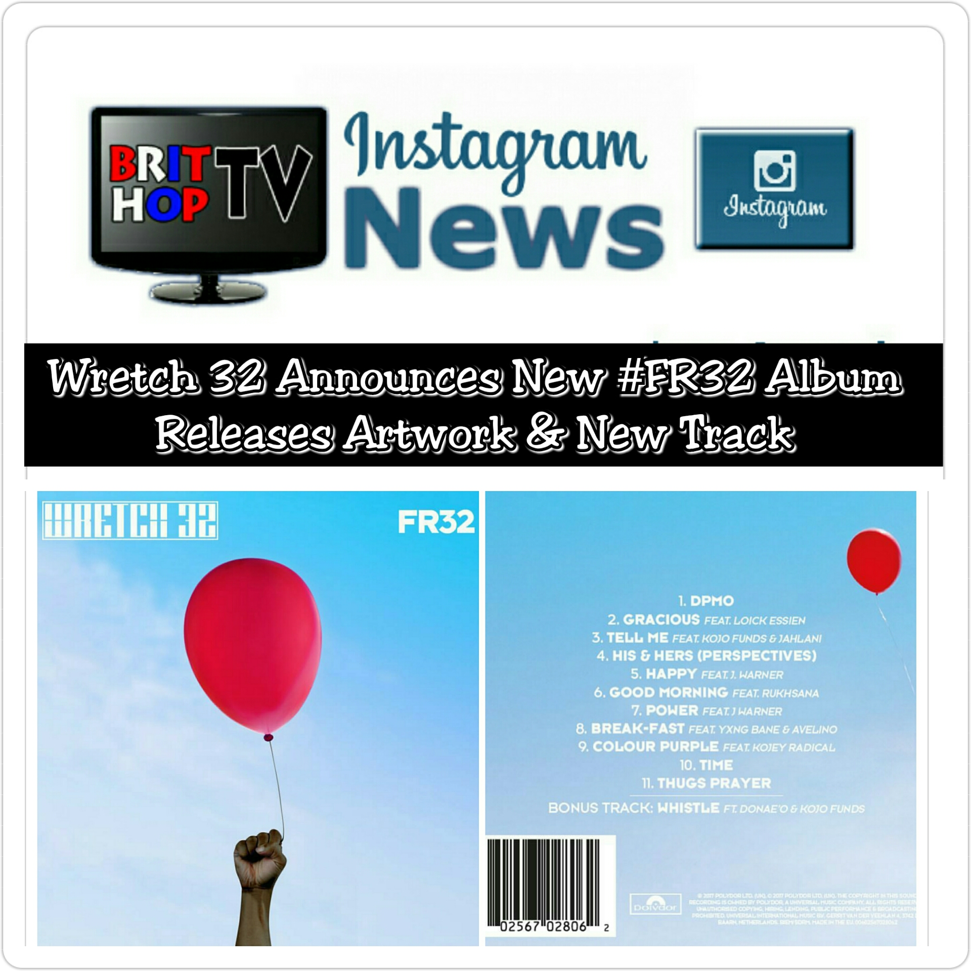 BRITHOPTV: [News] Wretch 32 Announces New #FR32 Album Releases Artwork & New Track | #News #UKRap #UKHipHop